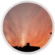 Small Town Sunset Round Beach Towel