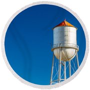 Small Town Water Tower Round Beach Towel