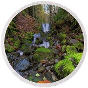 Small Waterfall At Lower Lewis River Falls Round Beach Towel