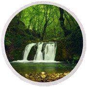 Small Waterfall In Forest Round Beach Towel
