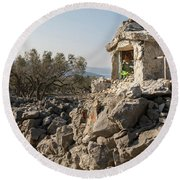Small White Chapel And A Metal Cross On A Stone Wall Near Cres Round Beach Towel