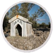 Small White Chapel On A Stone Wall Near Cres Round Beach Towel
