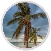 Smathers Beach Coconut Sunset Round Beach Towel