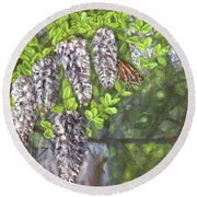 Smell The Moutain Laurel Round Beach Towel