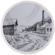 Smelter Ruins Glendale Ghost Town Montana Round Beach Towel