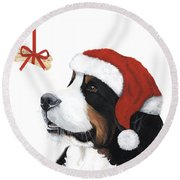 Smile Its Christmas Round Beach Towel