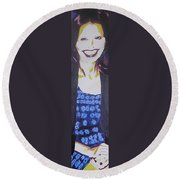 Smile Of Beauty Round Beach Towel