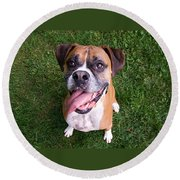 Smiling Boxer Dog Round Beach Towel