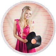 Smiling Dj Woman In Love With Retro Music Round Beach Towel