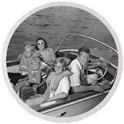 Smiling Family In Docked Boat, C.1960s Round Beach Towel