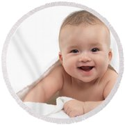 Smiling Four Month Old Baby Boy Round Beach Towel