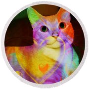 Smiling Kitty Round Beach Towel