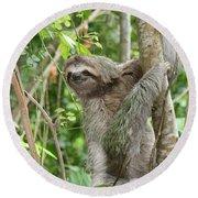 Smiling Sloth Round Beach Towel