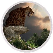 Smilodon Californicus Lookout Round Beach Towel