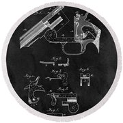 Smith And Wesson Model 3 Patent Round Beach Towel