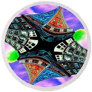 Smith Tower Fractal Round Beach Towel