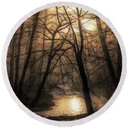 Smoke By The Water Round Beach Towel