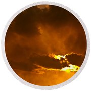 Smoke On The Horizon Round Beach Towel