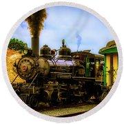 Smoke Stack Steam Train Round Beach Towel