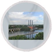Smokestacks On The Mississippi Round Beach Towel