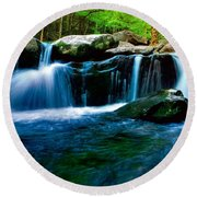Smokey Mountains Mountain Stream 4 Round Beach Towel