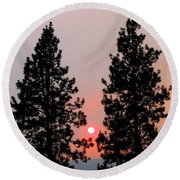 Smokey Okanagan Sunset Round Beach Towel
