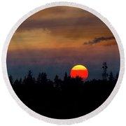 Smokey Sunset Sky Over Mount Scott Round Beach Towel