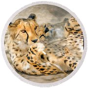 Smokin Cheetah Love Round Beach Towel