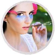 Smoking Glamour Round Beach Towel