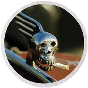 Smoking Skull Hood Ornament Round Beach Towel
