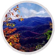Smoky Mountain Autumn View Round Beach Towel