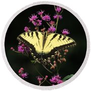 Smoky Mountain Butterfly Round Beach Towel