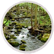 Smoky Mountain Stream 1 Round Beach Towel