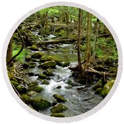 Smoky Mountain Stream 2 Round Beach Towel