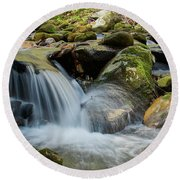 Flowing Stream #3, Smoky Mountains, Tennessee Round Beach Towel