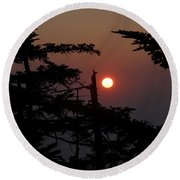 Smoky Mountain Sunset Round Beach Towel