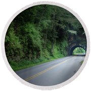 Smoky Mountain Tunnel Round Beach Towel