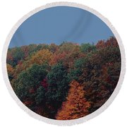 Smoky Mountains In Autumn Round Beach Towel by DigiArt Diaries by Vicky B Fuller
