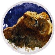 Smooching Lions Round Beach Towel