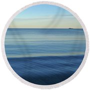 Smooth Blue Water On The Lynn Waterfront Round Beach Towel