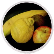 Smoothie Collection With Apple Note. Round Beach Towel