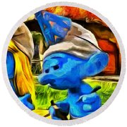 Smurfette And Friends - Pa Round Beach Towel