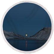 Snaefellsnes Moonrise Round Beach Towel