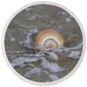 Snail In The Surf Round Beach Towel
