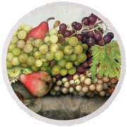 Snail With Grapes And Pears Round Beach Towel