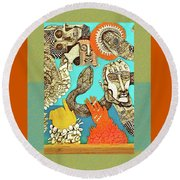 Snake And Skull Round Beach Towel