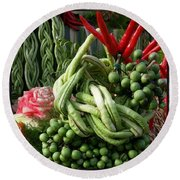 Snake Beans. At The Surin Elephant Round Beach Towel