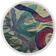 Snake In The Garden Round Beach Towel