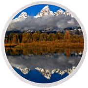 Snake River Fall Reflections Round Beach Towel