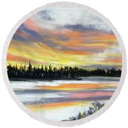 Snake River Sunset Round Beach Towel